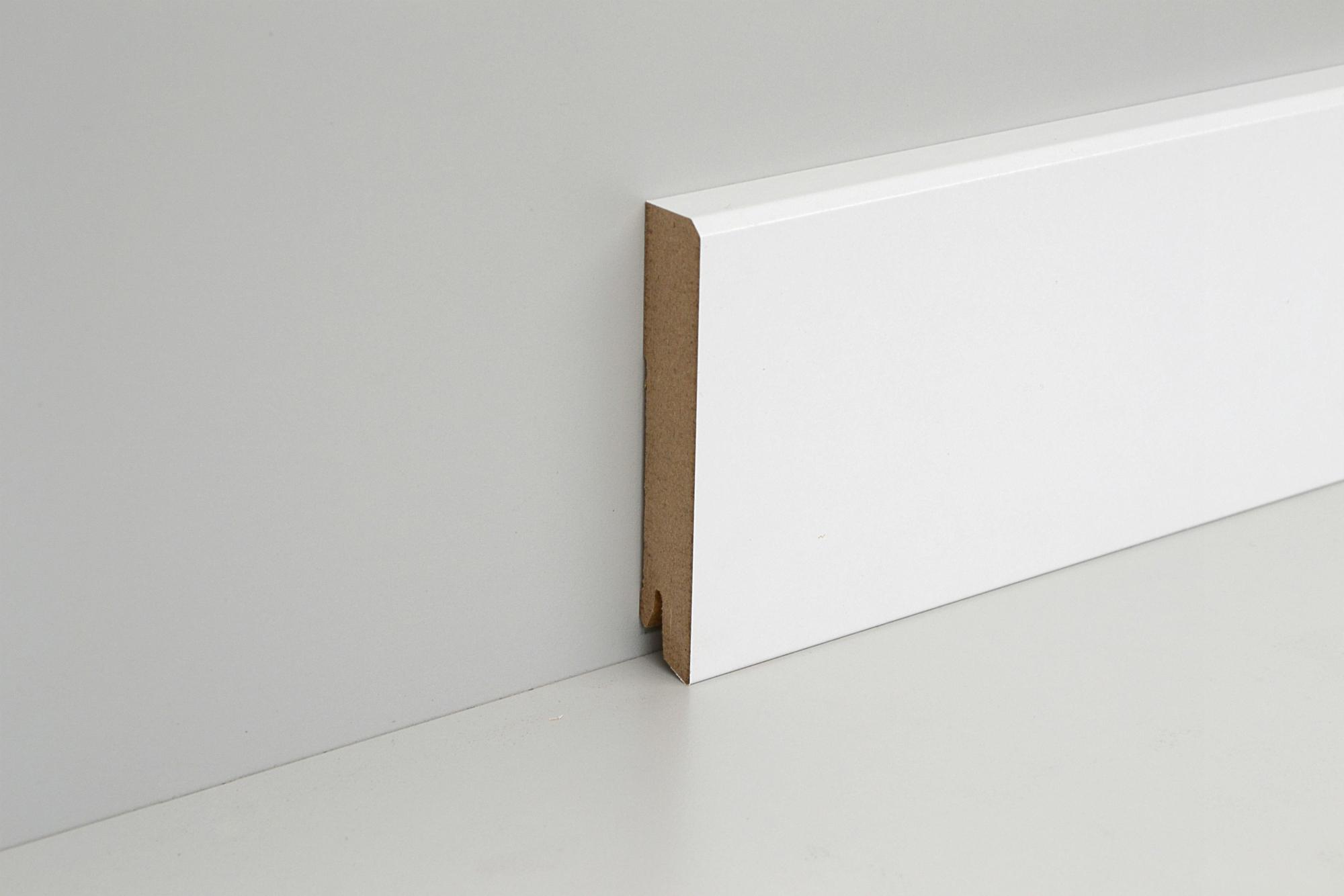 sockelleiste mdf wei 80mm gefast wei e leisten. Black Bedroom Furniture Sets. Home Design Ideas