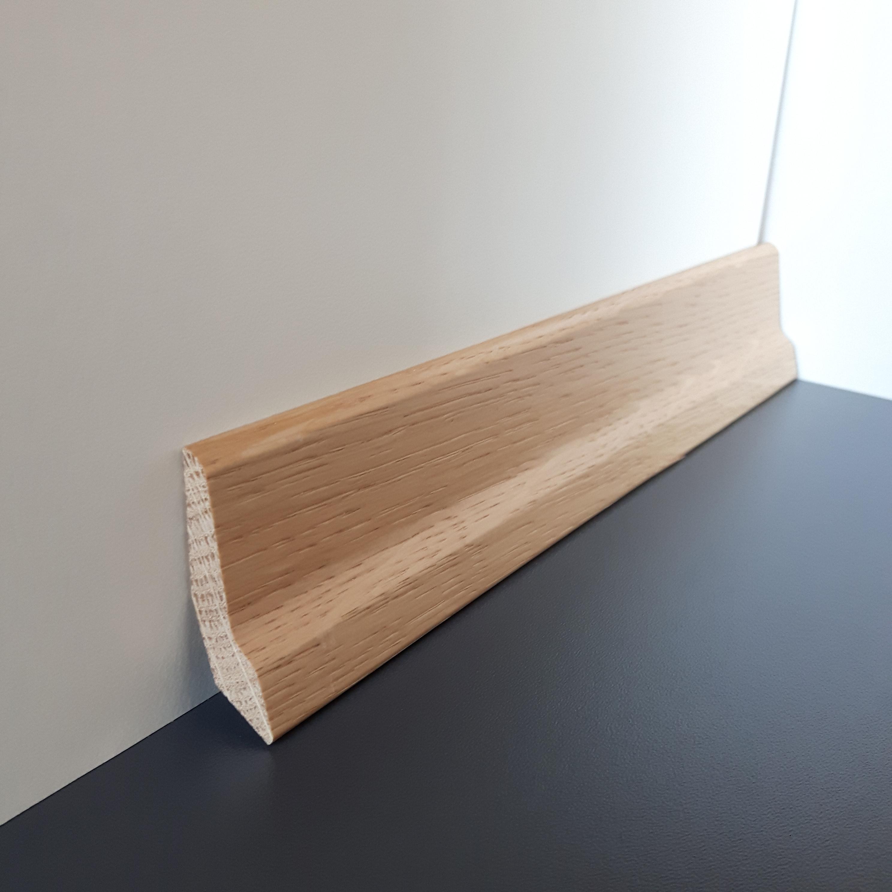 50m bund sockelleiste massiv eiche lackiert 46mm schn ppchen. Black Bedroom Furniture Sets. Home Design Ideas